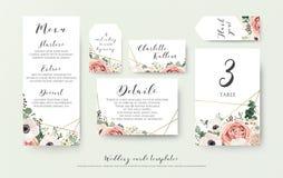 O menu do casamento, a informação, a etiqueta, o número da tabela e o lugar cardam o de ilustração stock
