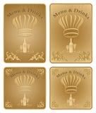 O menu e as bebidas do cozinheiro chefe cobrem ou placa - jogo do vetor Fotos de Stock Royalty Free