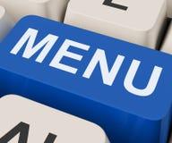 O menu fecha as mostras que pedem menus do alimento em linha Imagens de Stock