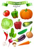 O mercado colorido do alimento objeta a coleção Imagem de Stock