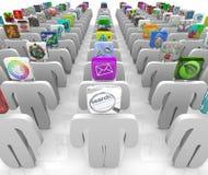 O mercado de Apps - pessoa com cabeças do ícone Fotografia de Stock Royalty Free