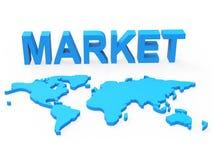 O mercado de comércio significa o planeta global e a globalização Fotos de Stock Royalty Free