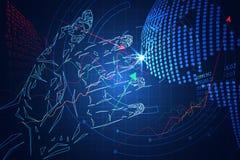 O mercado de valores de ação abstrato do jogo do negócio da tecnologia consiste: mãos olá! ilustração do vetor