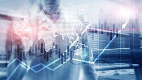 O mercado de valores de ação financeiro representa graficamente o conceito de ROI Return On Investment Business da carta da vela ilustração stock