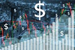O mercado de valores de ação de troca representa graficamente e barra na cidade na noite Negócio fi imagens de stock royalty free