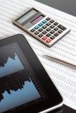 O mercado de valores de acção analisa Foto de Stock