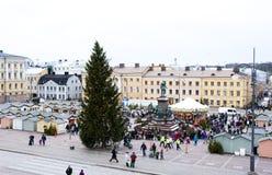 O mercado do Natal no quadrado do Senado, cidade de Helsínquia Imagens de Stock