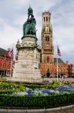 Estátua em Markt, Bruges, Bélgica Fotos de Stock Royalty Free