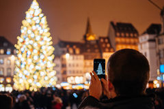O mercado o mais velho do Natal em Europa - Strasbourg, Alsácia, Fran Foto de Stock Royalty Free