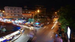 O mercado ou os povos de Warorot do lapso de tempo na área chamaram Kad Luang vídeos de arquivo