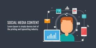 O mercado satisfeito, publicação do conteúdo digital na rede social, conteúdo web, meios sociais faz campanha Bandeira lisa do ve ilustração royalty free