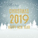 O2018-09-26-006. Merry Christmas and New Year Gold Glossy Background. Vector Illustration EPS10 stock illustration