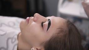 O mestre profissional da beleza no armário está aplicando delicadamente pinturas nas testas da jovem mulher pela tintura marrom,  video estoque