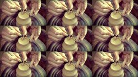 O mestre remove a camada superior de argila no potenciômetro com uma ferramenta especial vídeos de arquivo