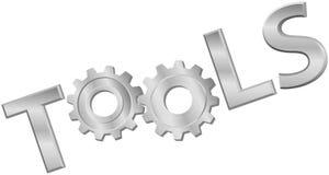 O metal brilhante utiliza ferramentas a palavra do ícone da engrenagem da tecnologia Fotografia de Stock Royalty Free