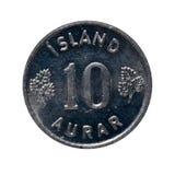O metal cointen eire Islândia Moeda isolada no fundo branco O imagem de stock royalty free
