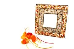 O metal do frame com pedras Imagens de Stock