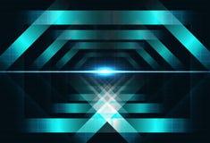 O metal esquadra o geome brilhante do conceito da tecnologia da luz do conceito da forma ilustração royalty free