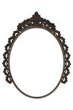 O metal oval velho da moldura para retrato trabalhou no fundo branco Fotografia de Stock