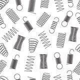 O metal salta teste padrão sem emenda Espirais de aço da bobina, linhas elásticas textura infinita do fio flexível do vetor ilustração do vetor