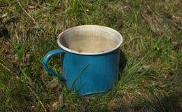 O metal velho do esmalte golpeou o jardim da grama da caneca imagem de stock