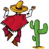 O mexicano dos desenhos animados islolated um branco ilustração do vetor
