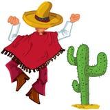 O mexicano dos desenhos animados islolated um branco Imagem de Stock Royalty Free