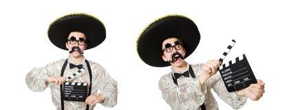 O mexicano engraçado com placa do filme foto de stock