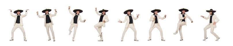 O mexicano engra?ado no terno e sombreiro isolado no branco imagens de stock royalty free