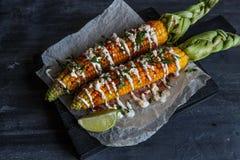 O mexicano grelhou o milho, elote, foto escura imagens de stock royalty free