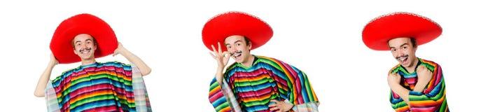 O mexicano novo engraçado com o bigode falso isolado no branco fotografia de stock