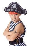 O miúdo que desgasta no traje do pirata Fotografia de Stock