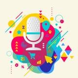 O microfone no fundo manchado colorido abstrato com differen Ilustração do Vetor