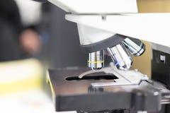 O microscópio está brilhando a coisa especial no laboratório de ciência imagens de stock royalty free