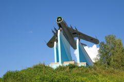 O MiG-17 - o monumento aos pilotos Fotografia de Stock