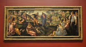 O milagre dos nacos e dos peixes, por Tintoretto Imagem de Stock