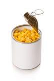 O milho aberto pode em um branco Fotografia de Stock