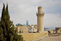 O minarete da mesquita na cidade velha da cidade fotos de stock