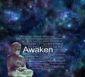 O Mindfulness cósmico da Buda desperta o conceito da meditação imagem de stock