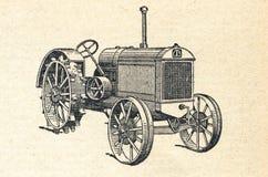 O mini trator, vintage gravou a ilustração Fotos de Stock