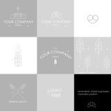 O minimalismo da padaria denominou ícones Imagens de Stock Royalty Free