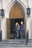 O ministro encontra a assembleia na igreja metodista em Macon Georgia imagens de stock royalty free