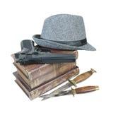 O mistério de assassinato registra o chapéu das facas da arma Fotos de Stock