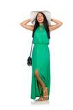 O modelo agradável da mulher no fundo branco Imagens de Stock Royalty Free