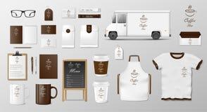 O modelo ajustou-se para a cafetaria, o café ou o restaurante Pacote do alimento do café para o projeto da propaganda da identida ilustração royalty free