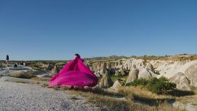 O modelo alto novo da menina corre em um vestido roxo longo com uma cauda nas montanhas vídeos de arquivo