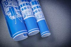 O modelo azul rola no conceito da construção da superfície do cinza Imagem de Stock Royalty Free