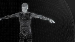 o modelo 3d do modelo geométrico do homem de linhas luminosas enegrece filme