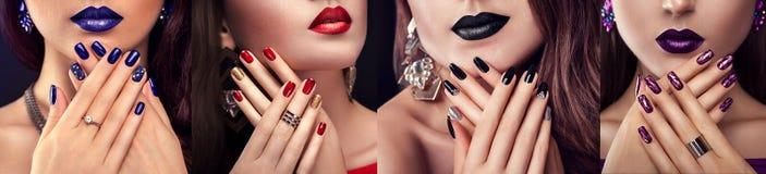 O modelo de forma da beleza com composição diferente e o prego projetam a joia vestindo Grupo de tratamento de mãos Quatro olhare fotografia de stock royalty free