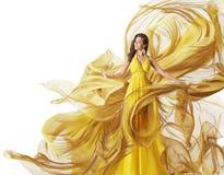 O modelo de forma Dress, vestido de fluxo da tela da mulher, veste o branco fotografia de stock royalty free